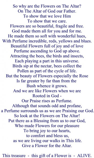 Poem Flowers for The Altar